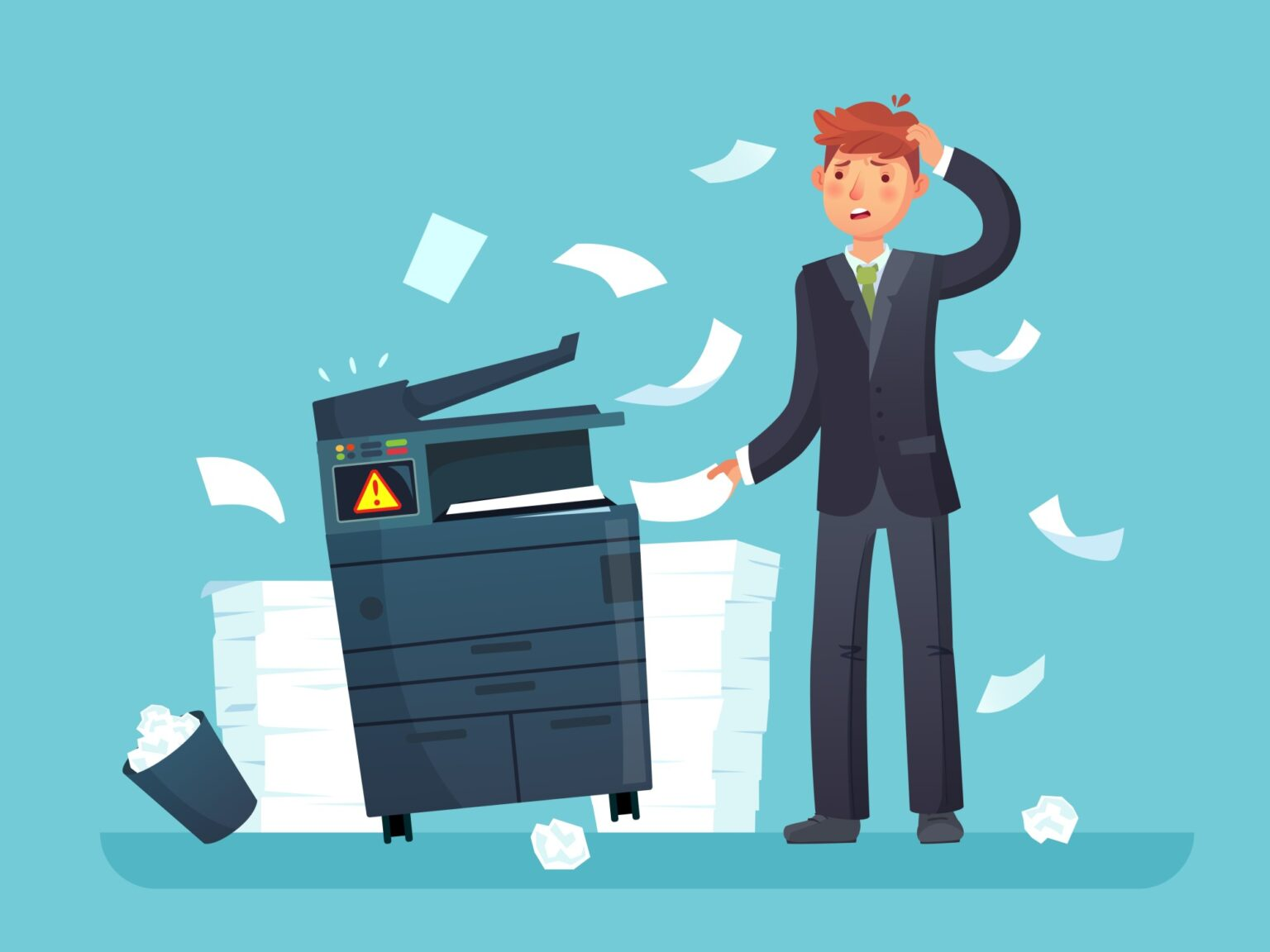 man standing in front of a malfunctioning printer and scanner as pages jam and fly out of the machine