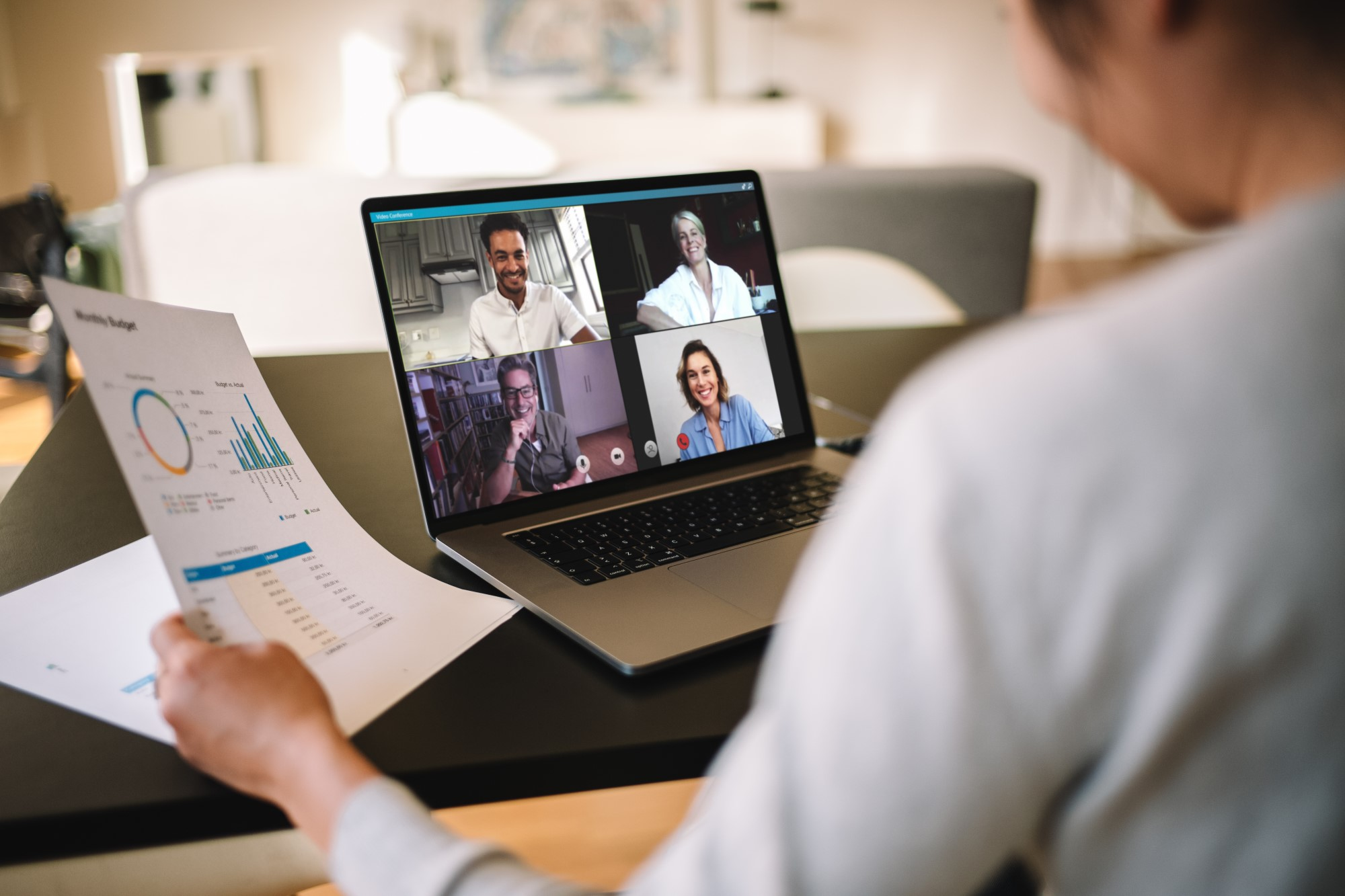 Woman having a virtual meeting from home