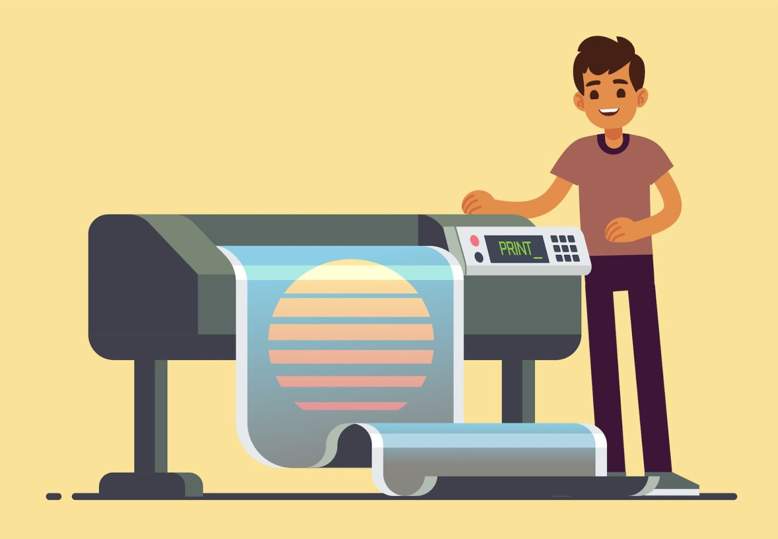 A young man using a wide-format printer to create posters of a sun design