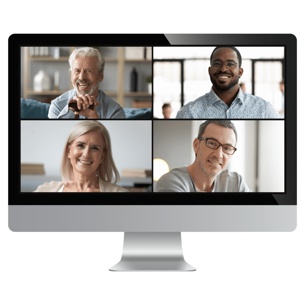 Video Conferencing Solutions, computer with portrait photos